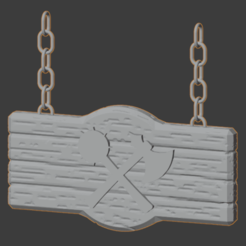 Mace-Axe-01.png Download free STL file Mace & Axe Building Sign • 3D printer model, LordInvoker