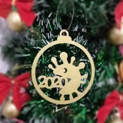 cov1.jpg Download STL file  Covid christmas ball tree ornament • 3D printer design, TAKIS