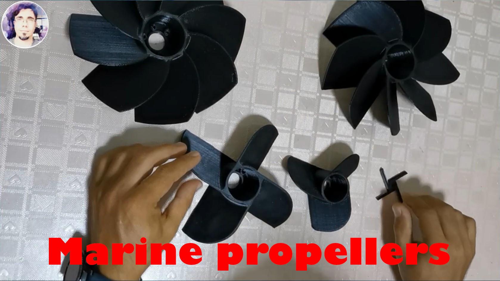 Marine Propellers.jpg Télécharger fichier STL gratuit Hélice marine à 4 volets • Modèle pour imprimante 3D, ErkanErk