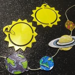 Download free 3D printer templates Earrings SUN + planets, chucherias3D