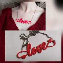Love.jpeg Download STL file Love Necklace • 3D printable design, chucherias3D