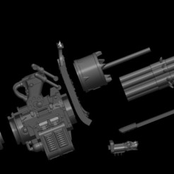 exploded w upper arm.jpg Download STL file Chaos Knight Rotating Chain Cannon • 3D printable model, Baron_von_Beef