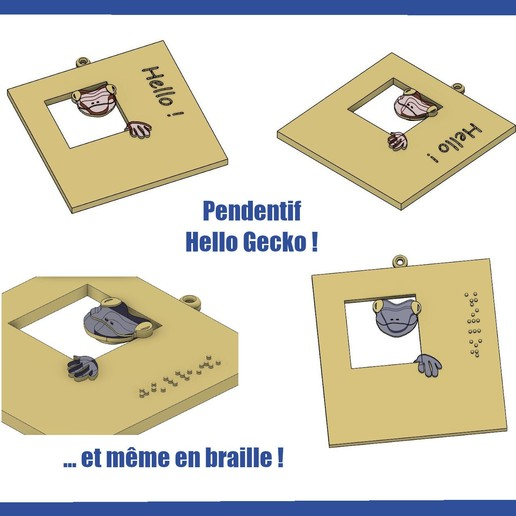 Download free STL file Hello Gecko Pendant ! (with a braille model) • 3D printing model, pimkiebebe