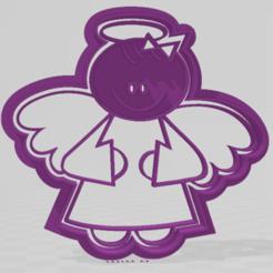 ángel  modelo 4 nena.png Download STL file cookie cutter angel model 4 • 3D print design, JOA3D