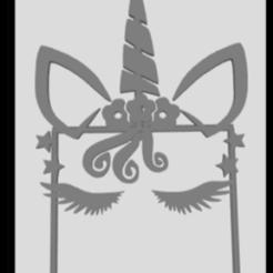 topper 1 unicrnio.png Download STL file topper unicorn 1 year • 3D print template, JOA3D