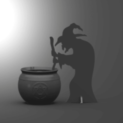 A.png Download free STL file Witch Silhouette Halloween Tea Light • Template to 3D print, HC3DPrints