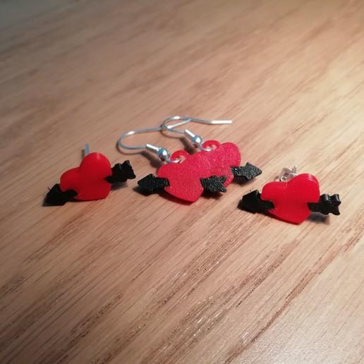 Download free 3D model Heart and Arrow Earring , matthainsie