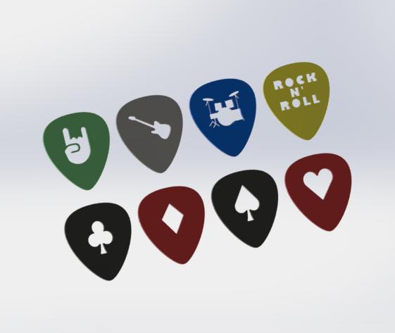 efrqeart.png Download free STL file Guitar Pick Selection Pack • Model to 3D print, HC3DPrints
