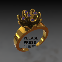 lily ring 1.PNG Download free STL file Lily ring • Template to 3D print, DixitaPrajapati