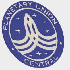 """Planetary_Union_1_v1.png Télécharger fichier STL gratuit Insigne central de l'Union planétaire """"L'Orville • Plan pour imprimante 3D, MontyApFlange"""