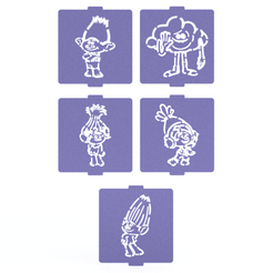 Download 3D printing models Trolls stencil set of 5 for Coffee and Baking, roxenstencil