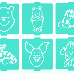 Download 3D printing files Winnie the pooh stencil set of 6 for Coffee and Baking, roxenstencil