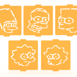 Download 3D printer files Simpsons stencil set of 5 for Coffee and Baking, roxenstencil