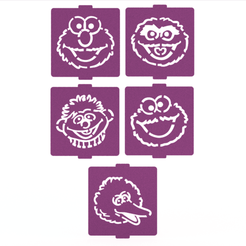 Download 3D printer designs Sesame Street stencil set of 5 for Coffee and Baking, roxenstencil