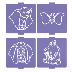 Download 3D printing templates Dumbo stencil set of 4 for Coffee and Baking, roxenstencil