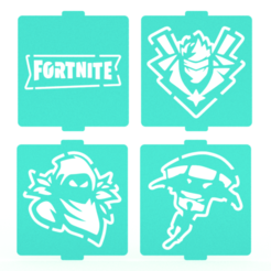 Download 3D model Fortnite stencil set of 4 for Coffee and Baking, roxenstencil