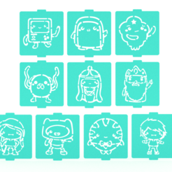 1.png Download STL file Adventure time stencil set of 10 for Coffee and Baking • 3D printable model, roxenstencil