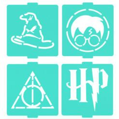 Download 3D printer designs Harry Potter stencil set of 4 for Coffee and Baking, roxenstencil