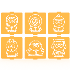 Download 3D printing files South park stencil set of 6 for Coffee and Baking, roxenstencil