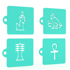 Screenshot_1.png Download STL file Egypt stencil set of 8 for Coffee and Baking • 3D printable object, roxenstencil