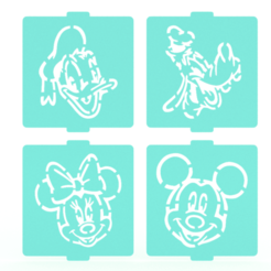 Download 3D printing files Mickey Mouse stencil set of 4 for Coffee and Baking, roxenstencil