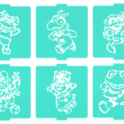 Download 3D printer model Muppet Babies stencil set of 6 for Coffee and Baking, roxenstencil