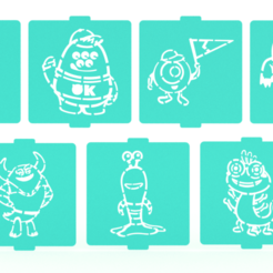 1.png Download STL file Monster inc stencil set of 7 for Coffee and Baking • 3D printer design, roxenstencil