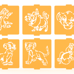 Download 3D printer files Lion king stencil set of 6 for Coffee and Baking, roxenstencil