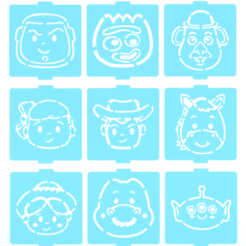 Download STL files Toy story stencil set of 9 for Coffee and Baking, roxenstencil