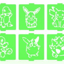 Download 3D model Pokemon stencil set of 6 for Coffee and Baking, roxenstencil
