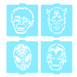 Download 3D printing templates Marvel stencil set of 4 for Coffee and Baking, roxenstencil