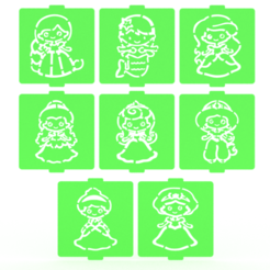 Download 3D printer designs Disney Princess stencil set of 9 for Coffee and Baking, roxenstencil
