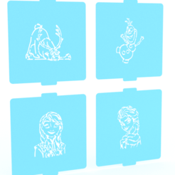 Download 3D printer designs Frozen stencil set of 4 for Coffee and Baking, roxenstencil