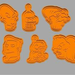 Download 3D printing templates Futurama cookie cutter cet of 9, roxenstencil