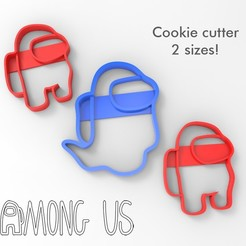Image 1.jpg Download free STL file Among us - Cookie cutters - Ghost and Crewmate - 2 sizes • 3D printable template, agustin_moyano