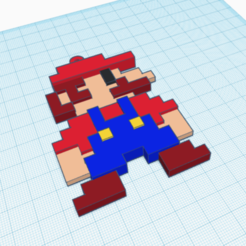 Download free STL files Mario pixel key ring, angelarturolp1985