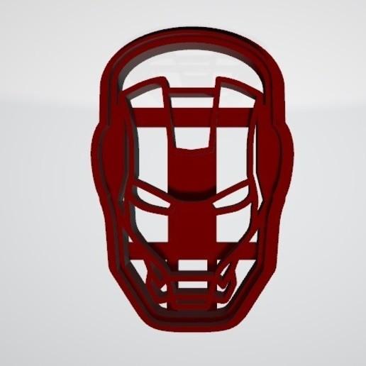 Ironman1.jpg Télécharger fichier STL gratuit Découpeur de biscuits Ironman Face • Design pour imprimante 3D, insua_lucas