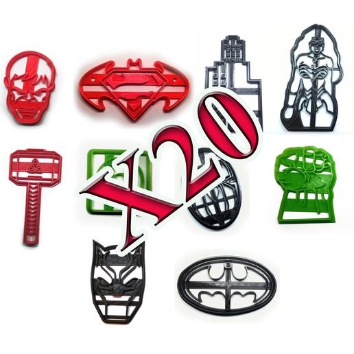 todos juntos X20 copy.jpg Télécharger fichier STL gratuit Coupe-biscuits des super-héros x20 • Plan pour imprimante 3D, insua_lucas
