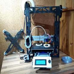 "ReprapMJ_full_view.jpg Download free SCAD file ReprapMJ 3D Printed ""Prusa Style"" Nylon Capable and Easy to Use 3D Printer with Full 200mm Build Size but Small Footprint reprapmj • 3D printing design, mikejeffs"