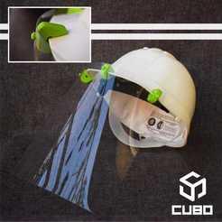 Adaptador casco.jpeg Download STL file COVID19 sanitary facial protection accessory for helmets • 3D printing model, CUBO3D