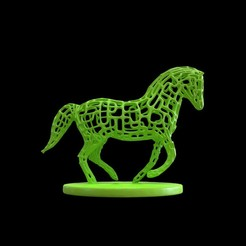 Download STL file Horse Voronoi wireframe, kirillxenon