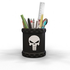 Download 3D printing designs Punisher pencil holder, kirillxenon