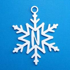 NSnowflakeInitialGiftTag3DPhoto.jpg Télécharger fichier STL Lettre N - Ornement de l'étiquette cadeau initiale du flocon de neige • Objet pour imprimante 3D, CBDesigns