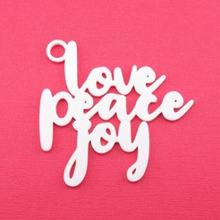 LovePeaceJoyGiftTagWithJumpringPhoto.jpg Download STL file Love Peace Joy - Christmas Gift Tag • 3D printing design, CBDesigns