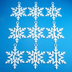 WholeAlphabetSnowflakeInitialGiftTagsAToIGroup3DPhoto.jpg Download STL file Snowflake Initial Gift Tag Ornament Collection • 3D printing model, CBDesigns