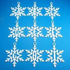 WholeAlphabetSnowflakeInitialGiftTagsAToIGroup3DPhoto.jpg Télécharger fichier STL Collection d'ornements de l'étiquette cadeau initiale du flocon de neige • Objet pour impression 3D, CBDesigns