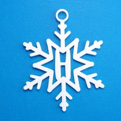 HSnowflakeInitialGiftTag3DPhoto.jpg Download STL file Letter H - Snowflake Initial Gift Tag Ornament • 3D printer template, CBDesigns
