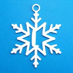 LSnowflakeInitialGiftTag3DPhoto.jpg Télécharger fichier STL Lettre L - Ornement de l'étiquette cadeau initiale du flocon de neige • Plan à imprimer en 3D, CBDesigns