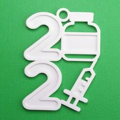 2021Covid19VaccineBottleSyringeOrnament3DPhoto.jpg Download STL file 2021 Covid-19 Pandemic - Vaccine Bottle & Syringe Christmas Ornament • 3D printer template, CBDesigns