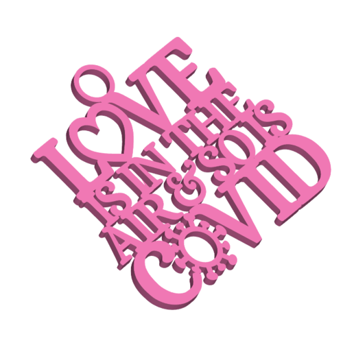 LoveIsInTheAirAndSoIsCovidCardOrnamentOrGiftTagWithJumpring3DPrintImage.png Download STL file 2021 Valentine's Day Love Is In The Air & So Is Covid Keychain Tag, Ornament/Gift Tag & Card Decoration • 3D print object, CBDesigns
